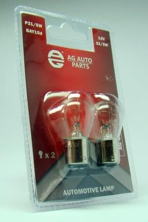 Автолампа 12V 21-5W P21-5W BAY15D. CLEAR. BLISTER PACK (2 PIECE) AG AG40057S фото